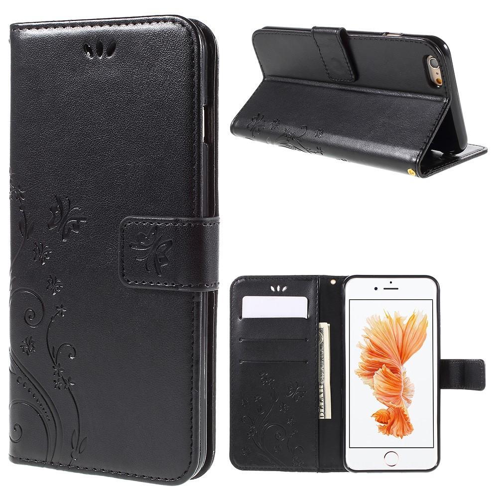 Läderfodral Fjärilar Apple iPhone 6/6S svart