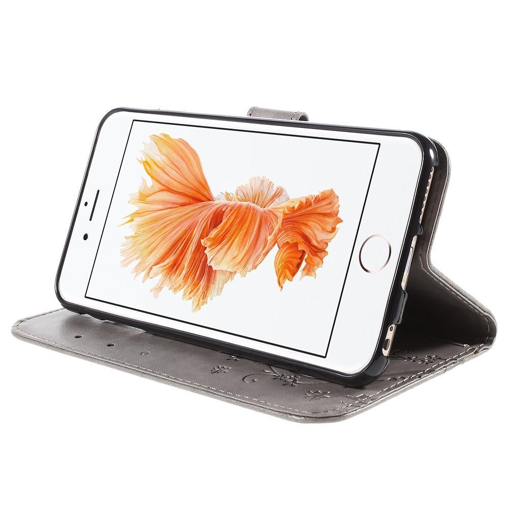 Läderfodral Fjärilar Apple iPhone 6/6S grå