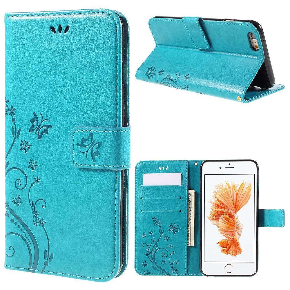 Läderfodral Fjärilar Apple iPhone 6/6S blå