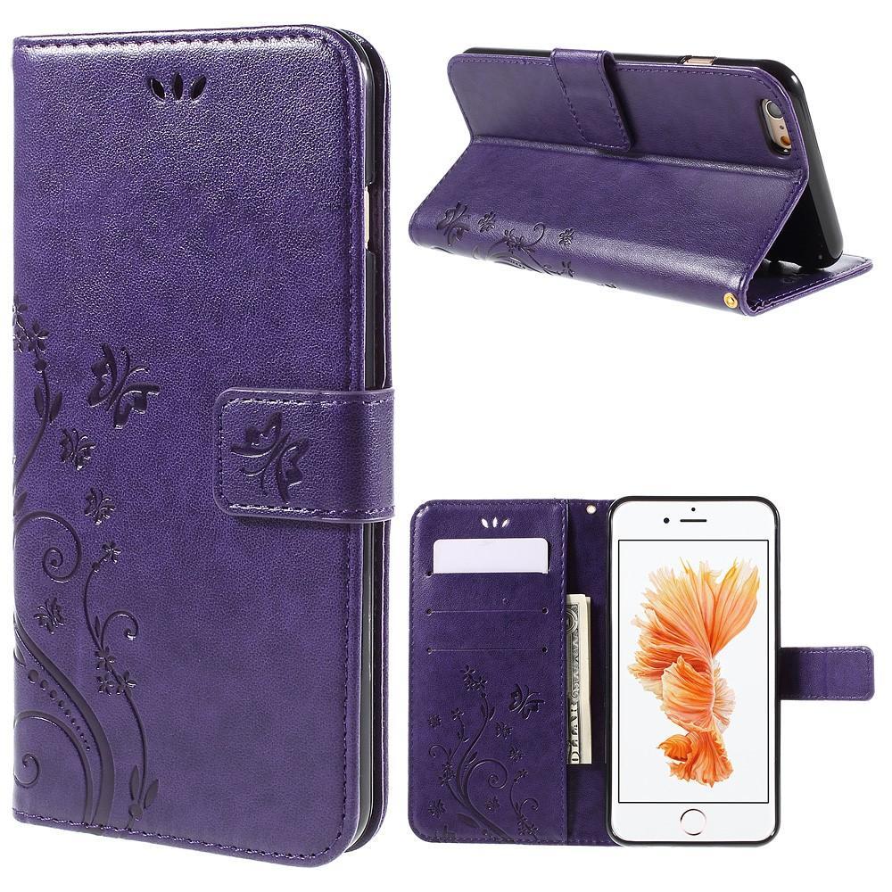 Läderfodral Fjärilar Apple iPhone 6/6S lila