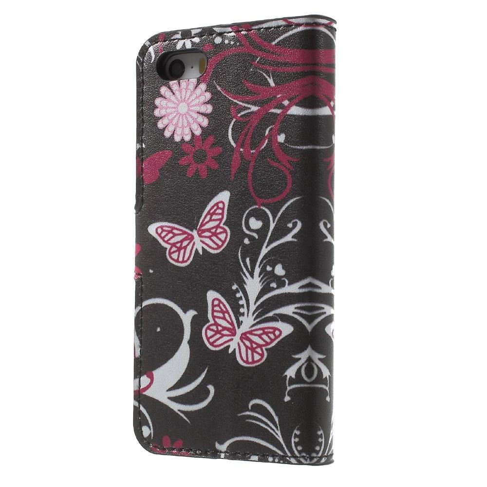Plånboksfodral Apple iPhone SE/5S/5 svart fjäril
