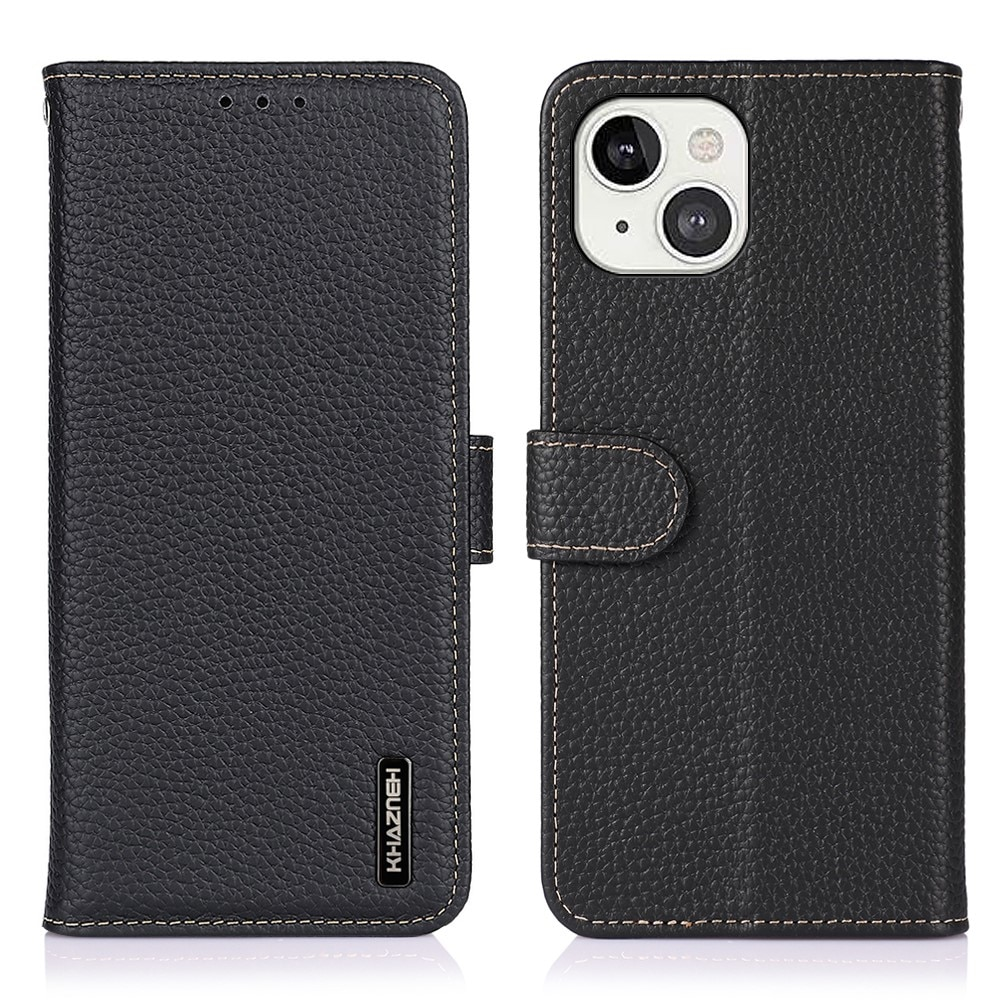 Khazneh Real Leather Wallet iPhone 13 Black