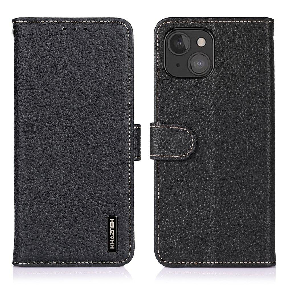 Khazneh Real Leather Wallet iPhone 13 Mini Black
