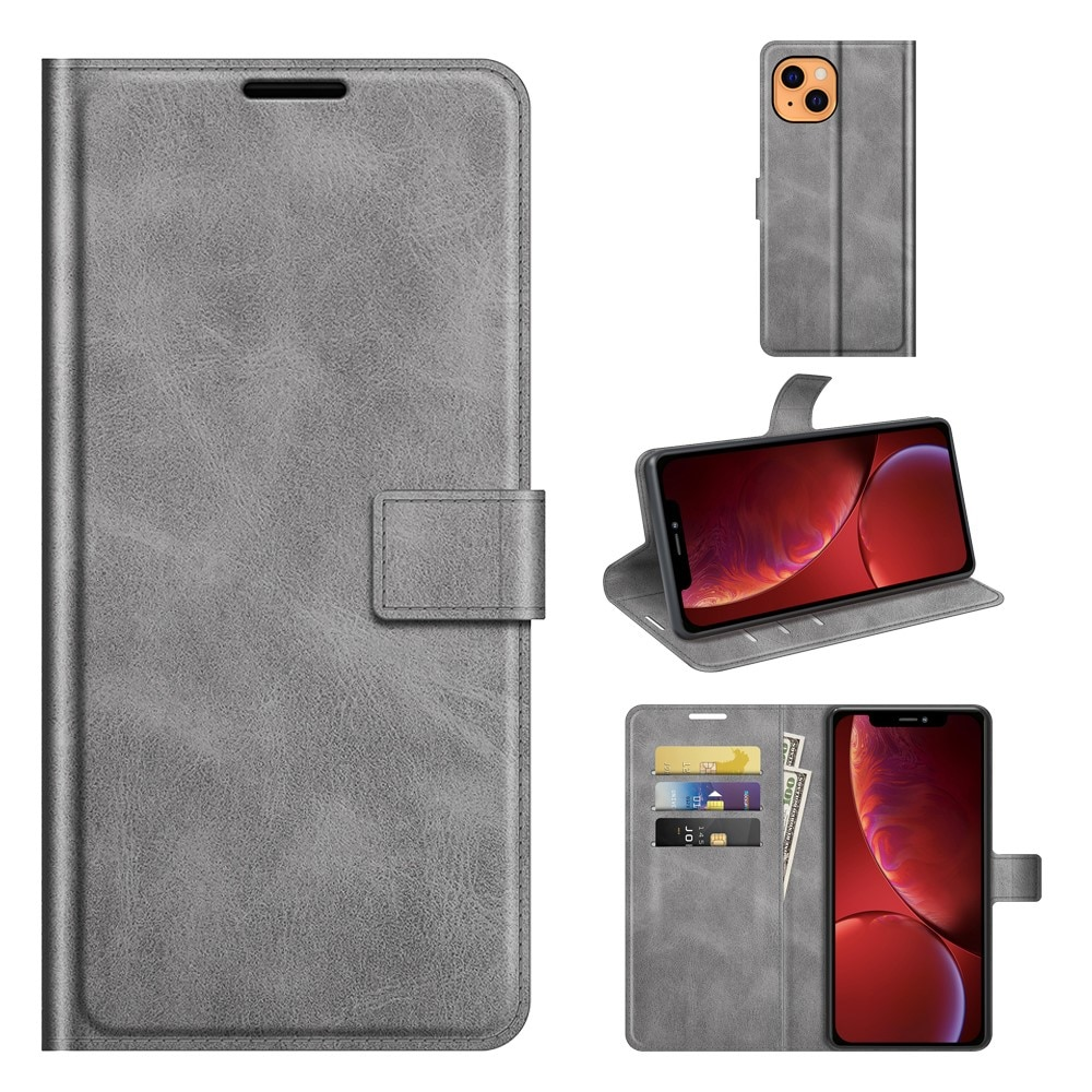 Leather Wallet iPhone 13 Grey