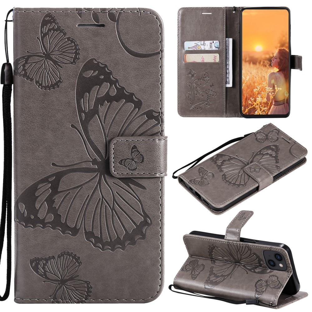 Läderfodral Fjärilar iPhone 13 grå