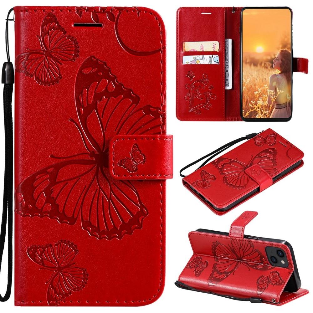Läderfodral Fjärilar iPhone 13 röd