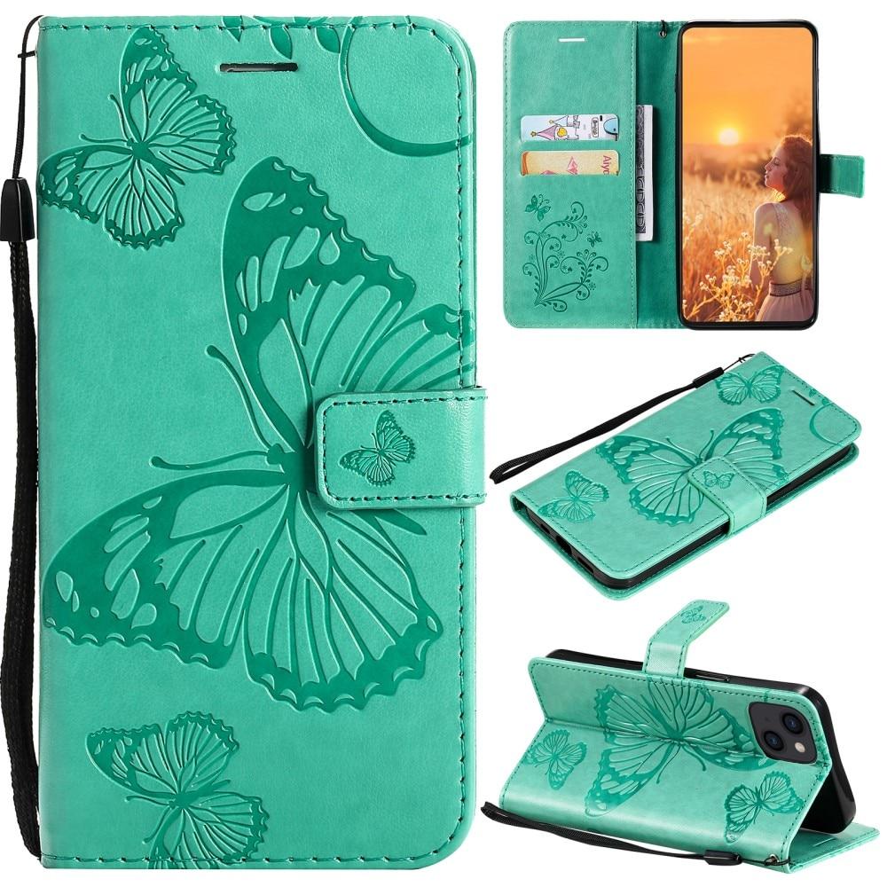 Läderfodral Fjärilar iPhone 13 grön