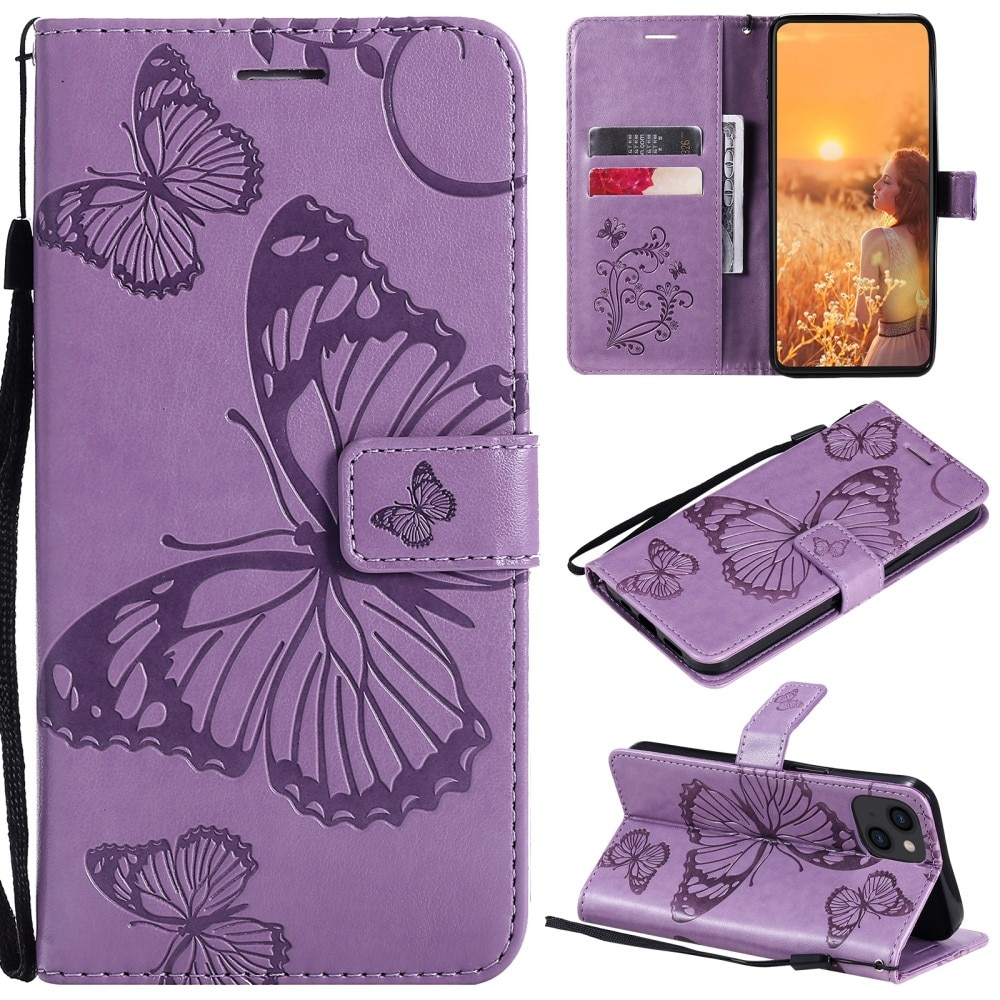 Läderfodral Fjärilar iPhone 13 lila