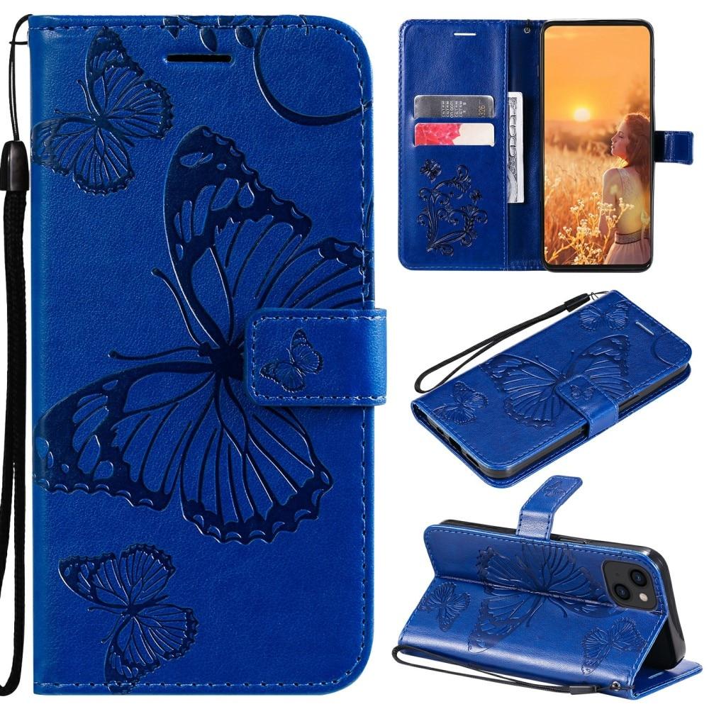 Läderfodral Fjärilar iPhone 13 blå
