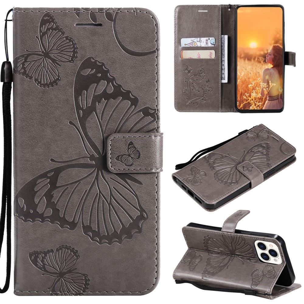 Läderfodral Fjärilar iPhone 13 Pro grå