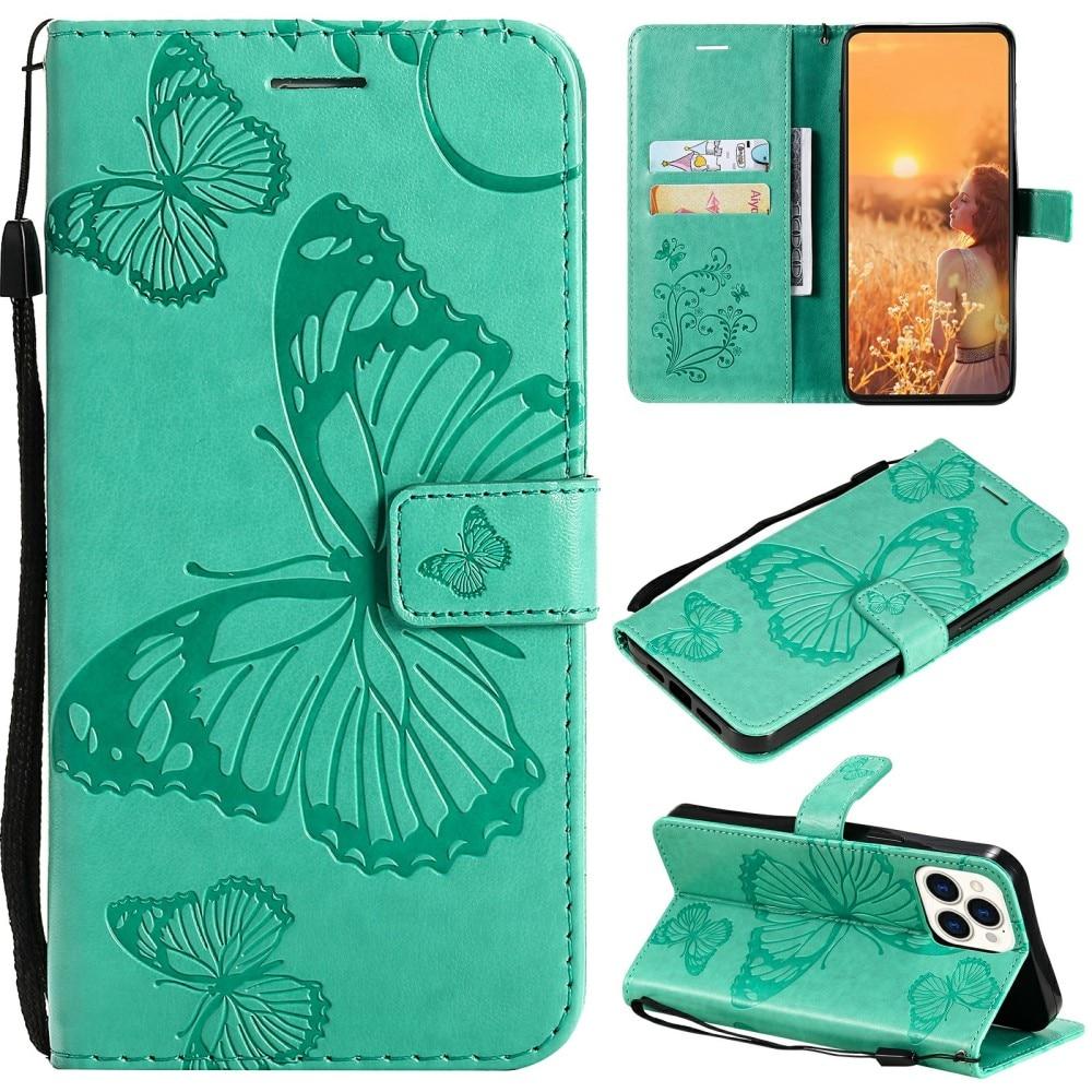 Läderfodral Fjärilar iPhone 13 Pro grön