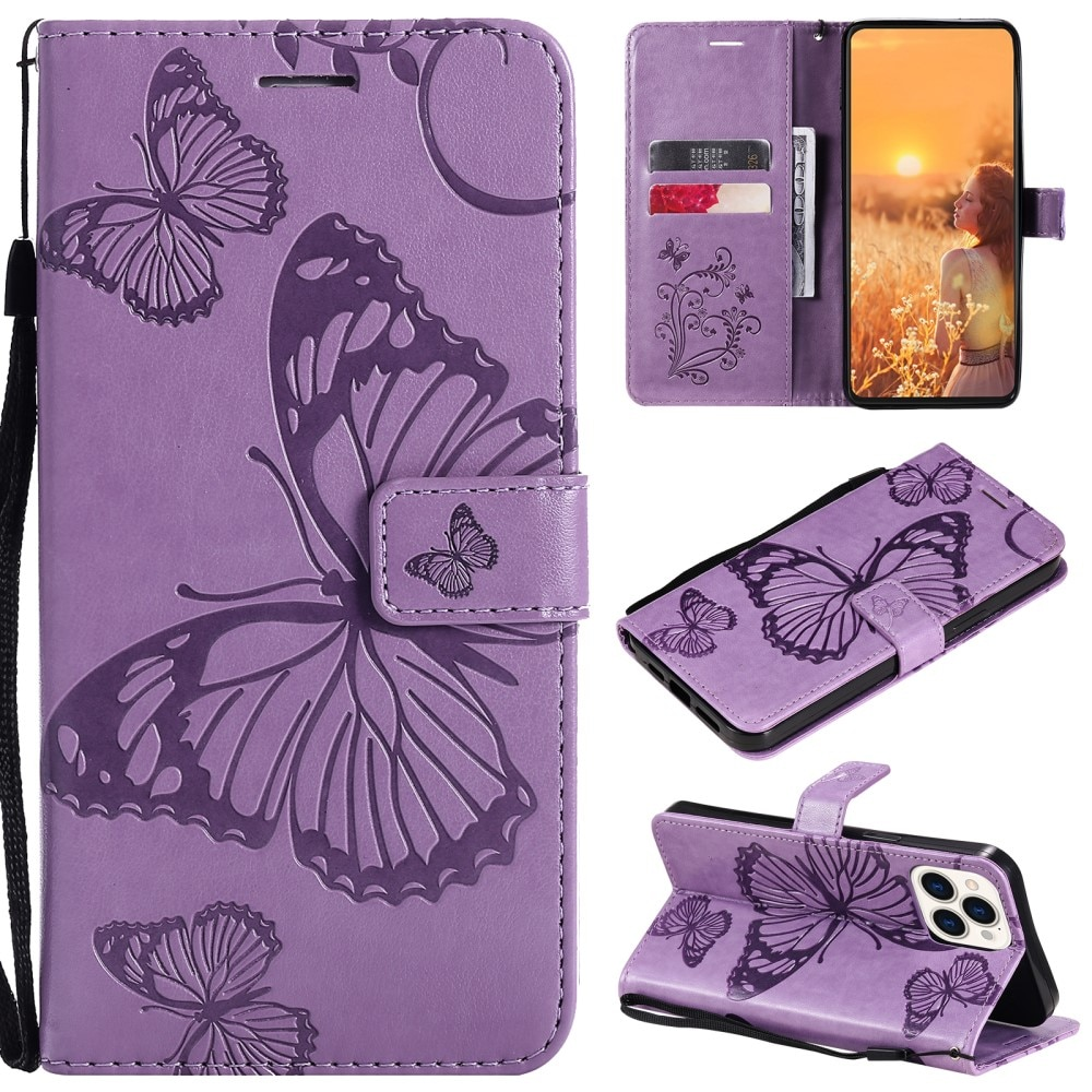 Läderfodral Fjärilar iPhone 13 Pro lila