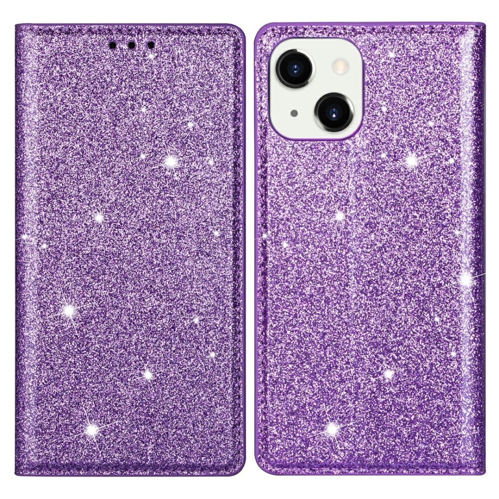 Glittrande plånboksfodral iPhone 13 lila