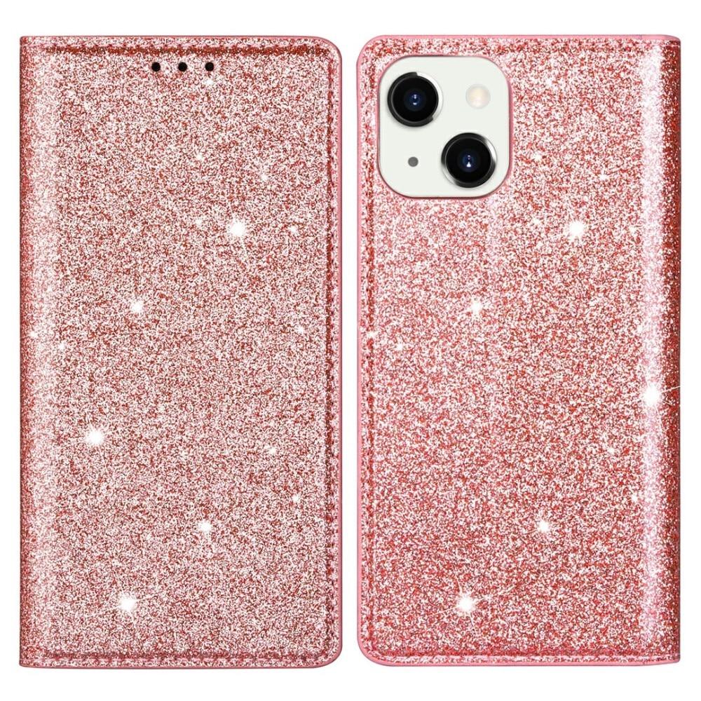 Glittrande plånboksfodral iPhone 13 roséguld