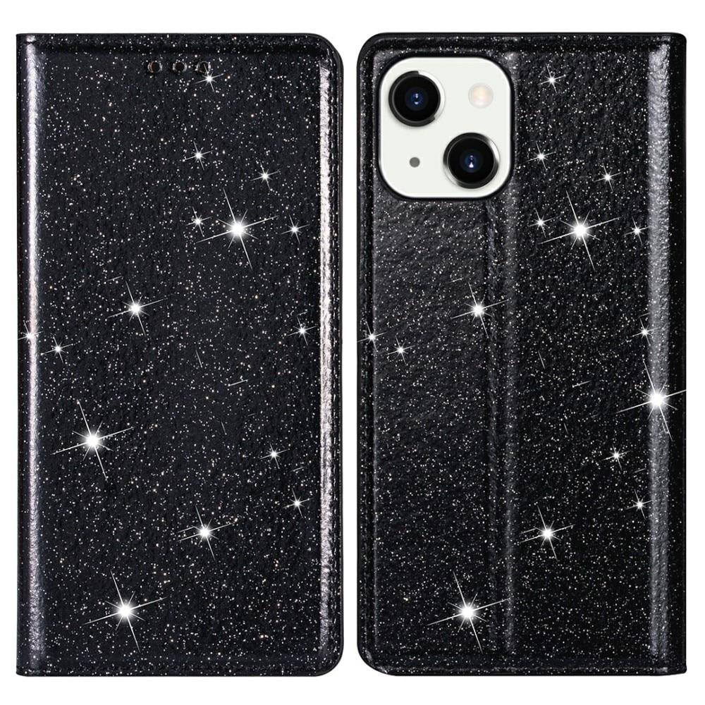 Glittrande plånboksfodral iPhone 13 svart