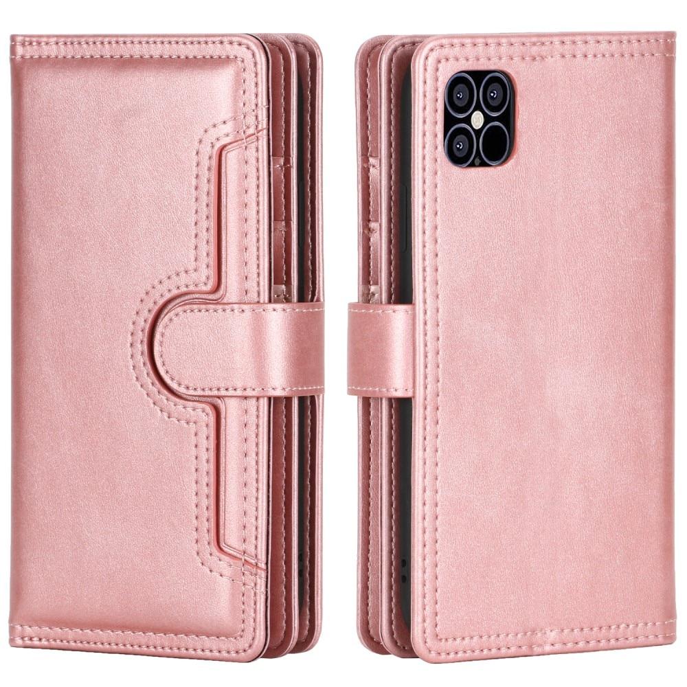 Läderplånbok Multi-slot iPhone 13 roséguld