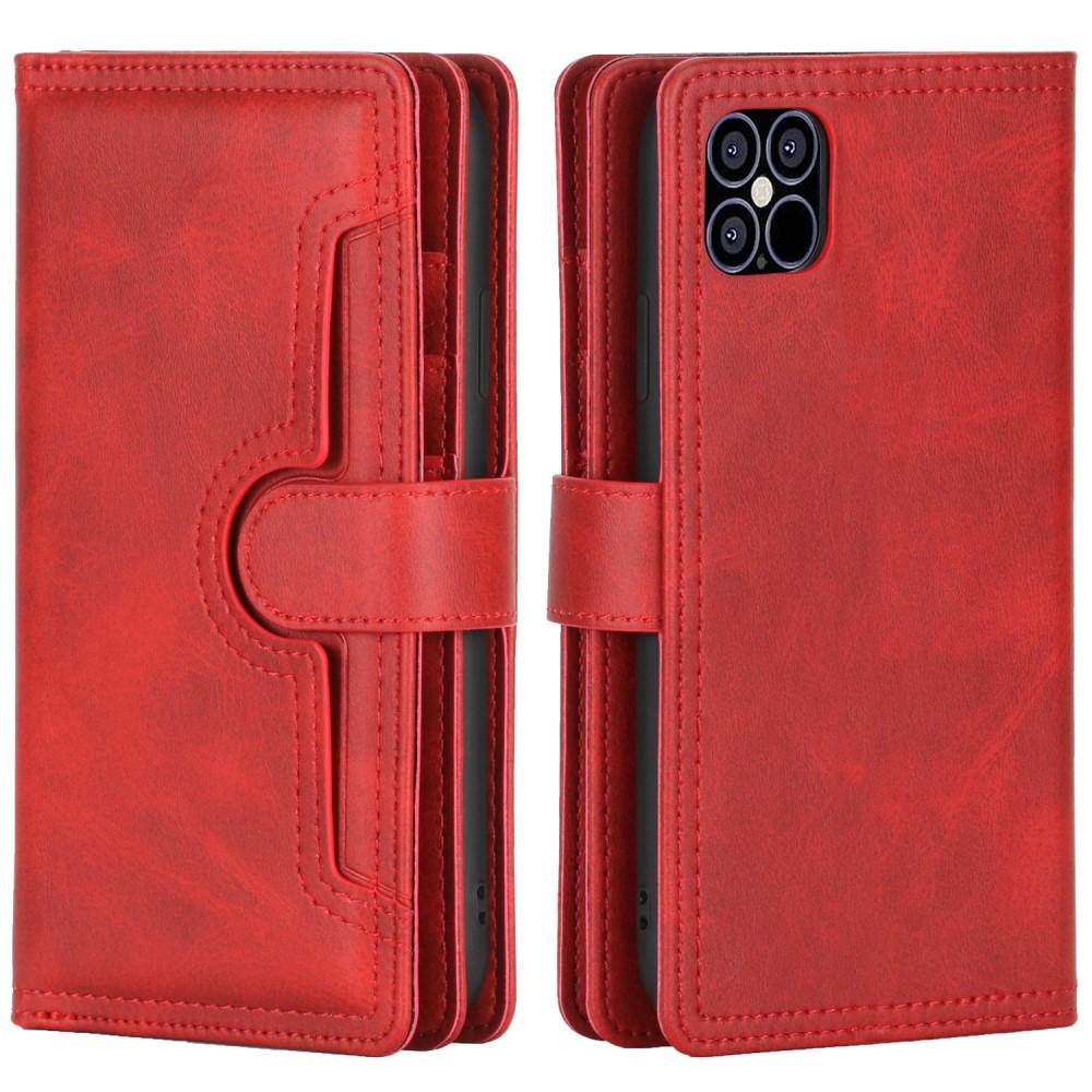 Läderplånbok Multi-slot iPhone 13 röd