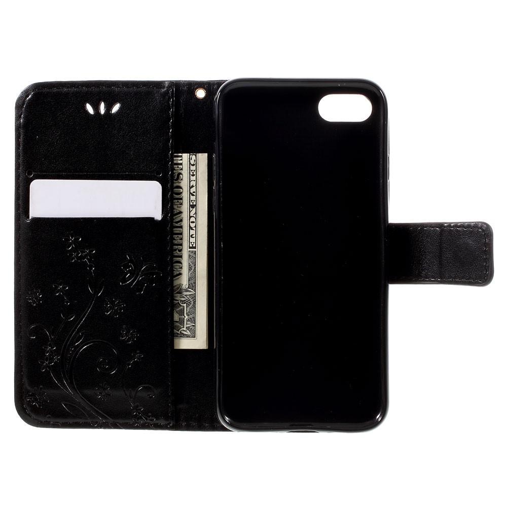 Läderfodral Fjärilar iPhone 7/8/SE 2020 svart