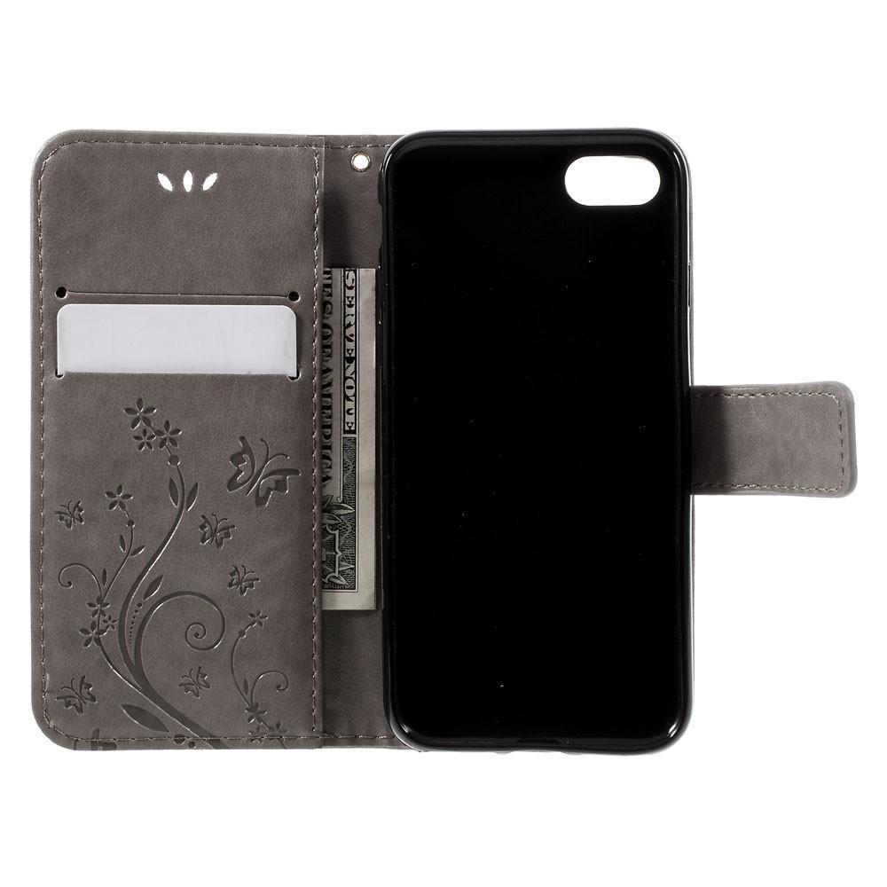 Läderfodral Fjärilar iPhone 7/8/SE 2020 grå