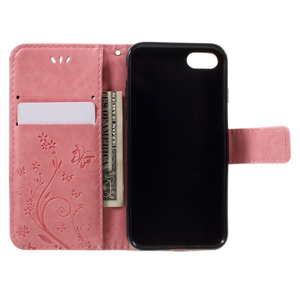 Läderfodral Fjärilar iPhone 7/8/SE 2020 rosa