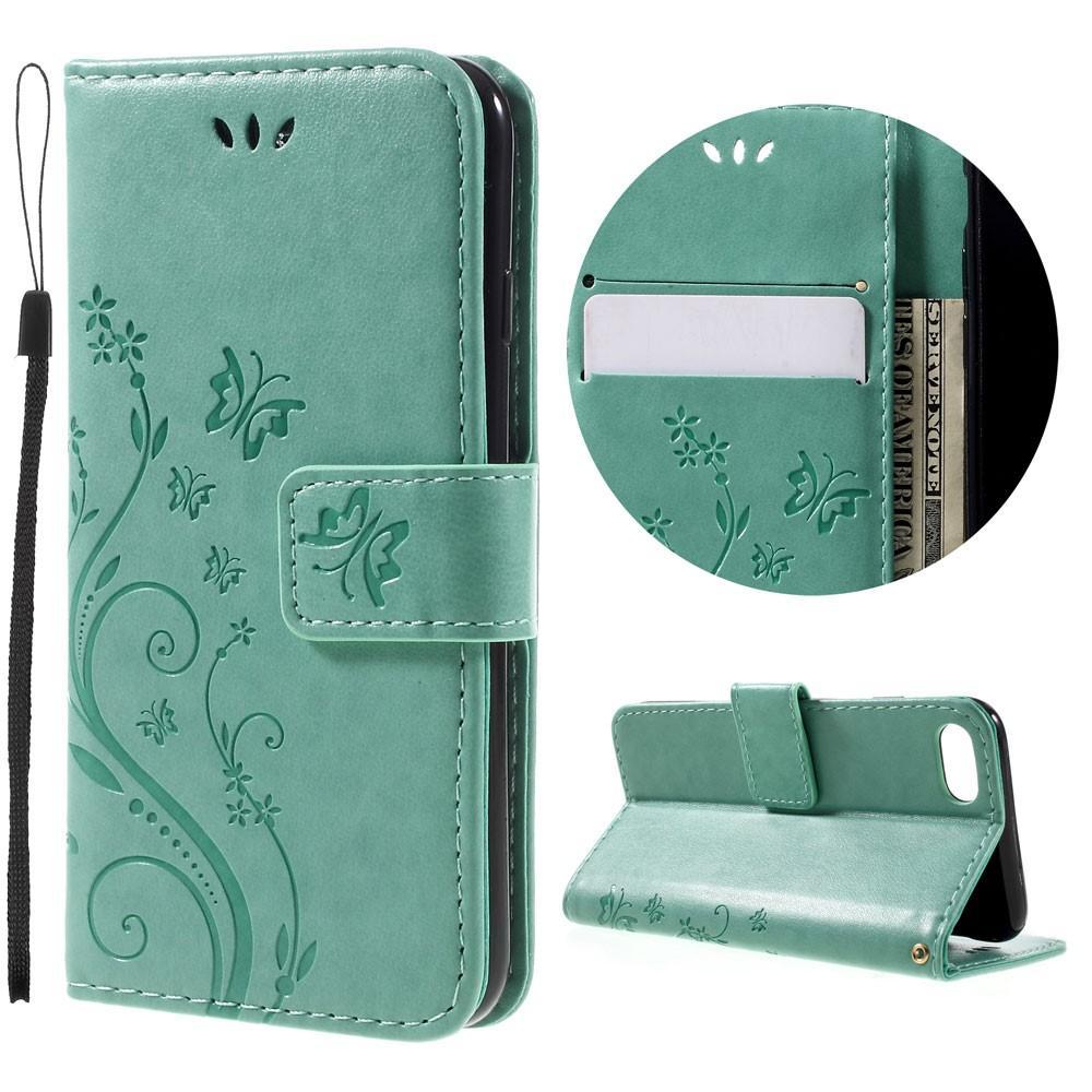 Läderfodral Fjärilar iPhone 7/8/SE 2020 grön