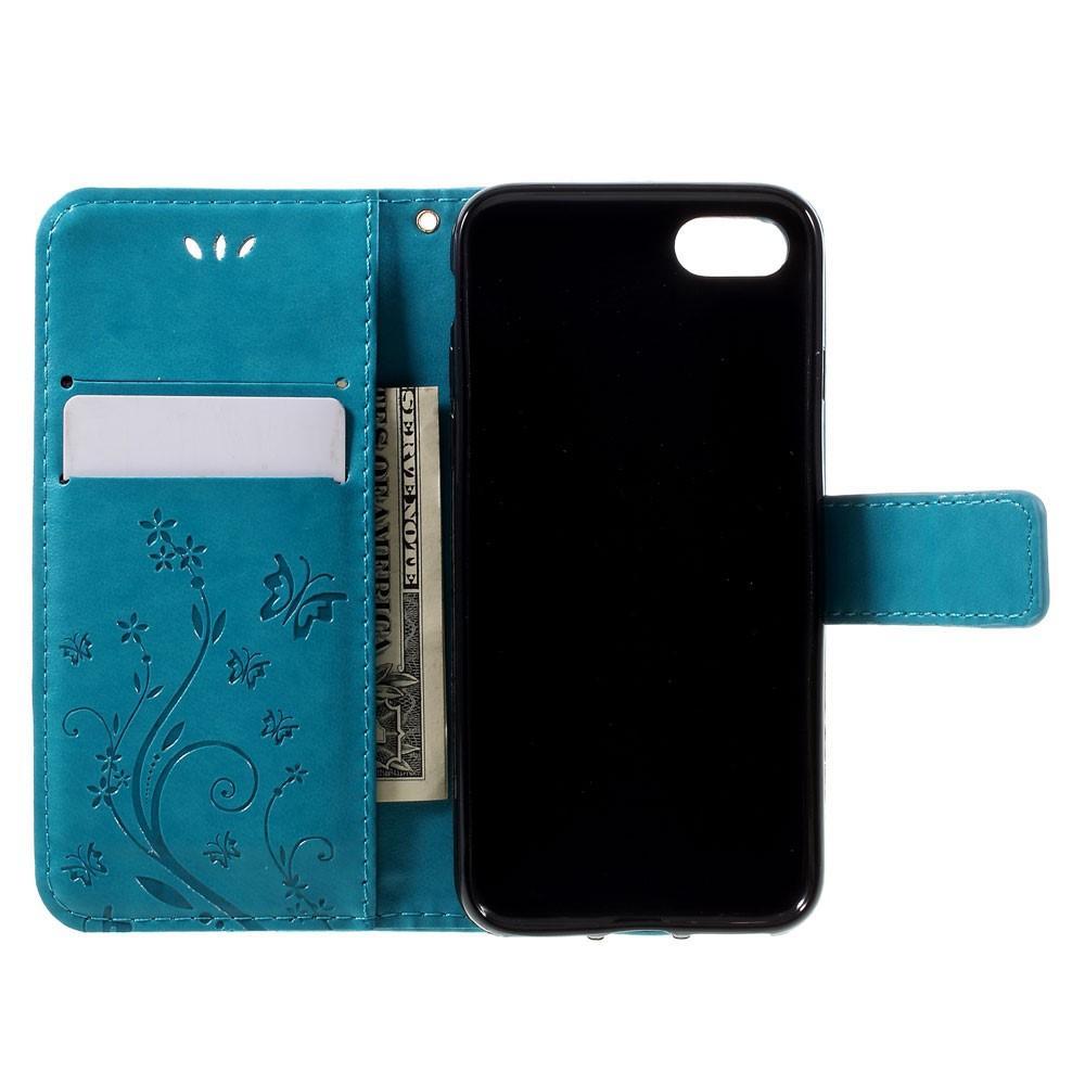 Läderfodral Fjärilar iPhone 7/8/SE 2020 blå