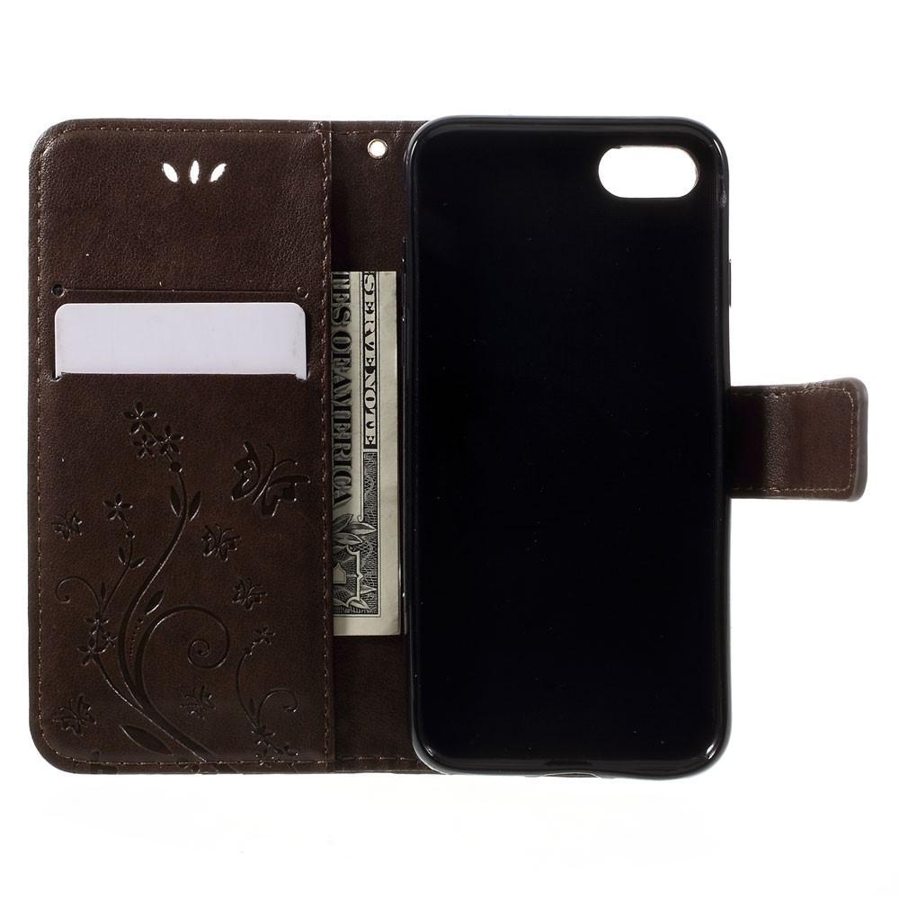 Läderfodral Fjärilar iPhone 7/8/SE 2020 brun
