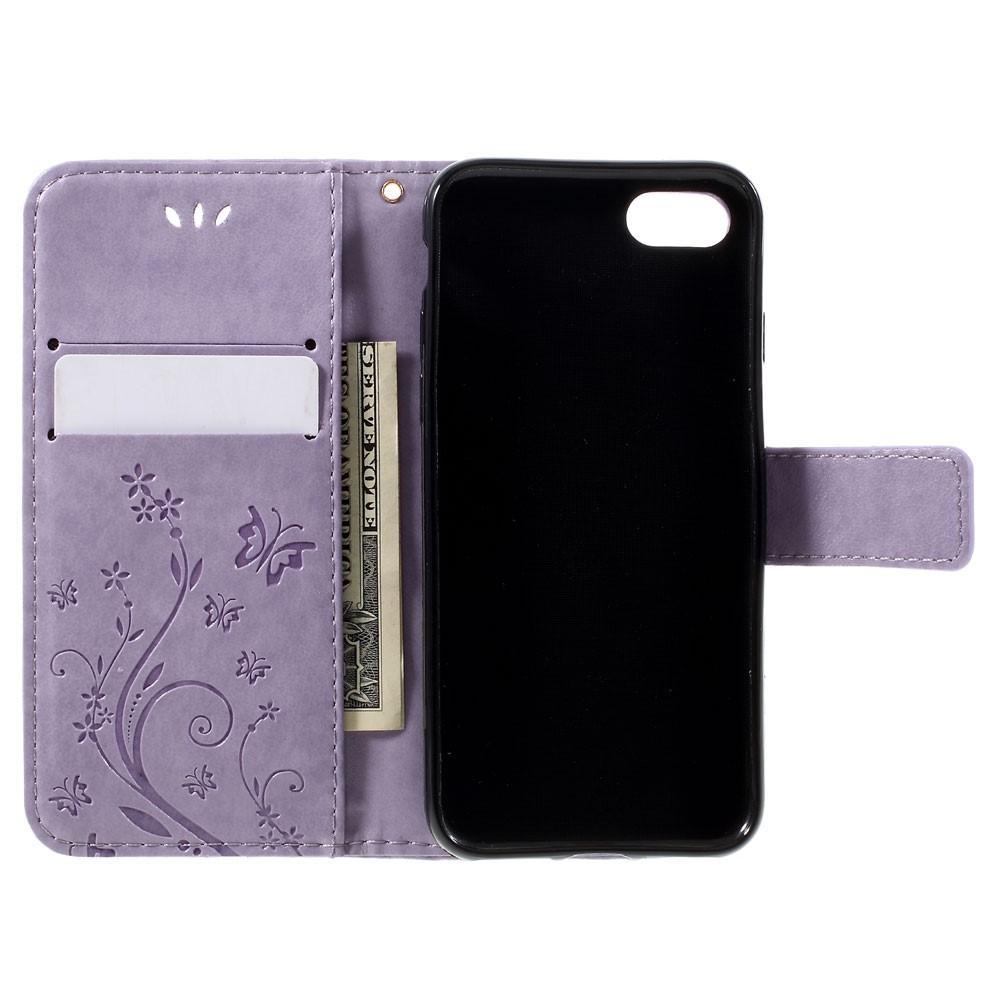 Läderfodral Fjärilar iPhone 7/8/SE 2020 lila