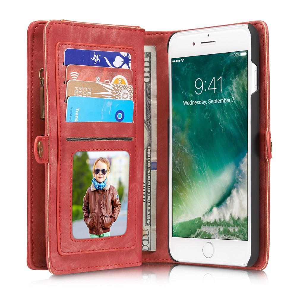 Multi-slot Plånboksfodral iPhone 7 Plus/8 Plus röd