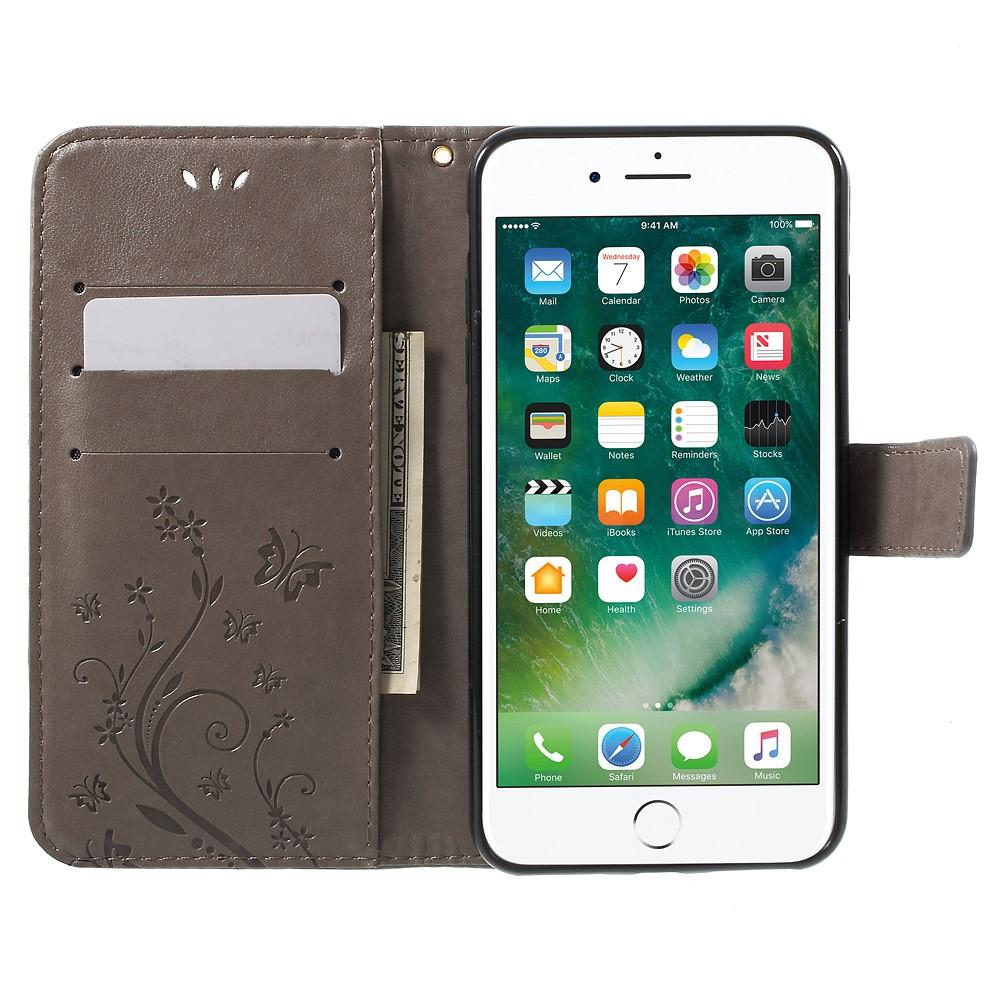 Läderfodral Fjärilar iPhone 7 Plus/8 Plus grå