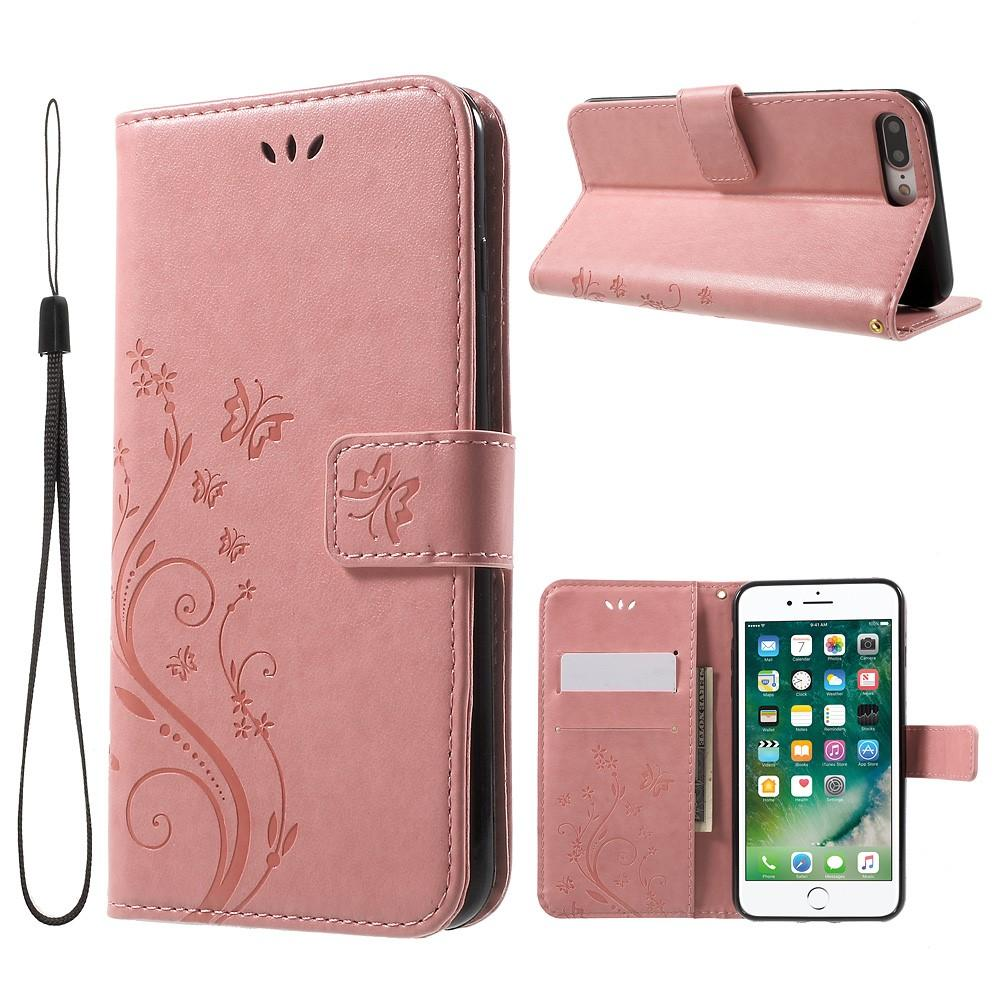 Läderfodral Fjärilar iPhone 7 Plus/8 Plus rosa