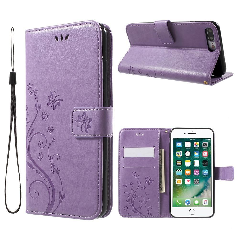 Läderfodral Fjärilar iPhone 7 Plus/8 Plus lila