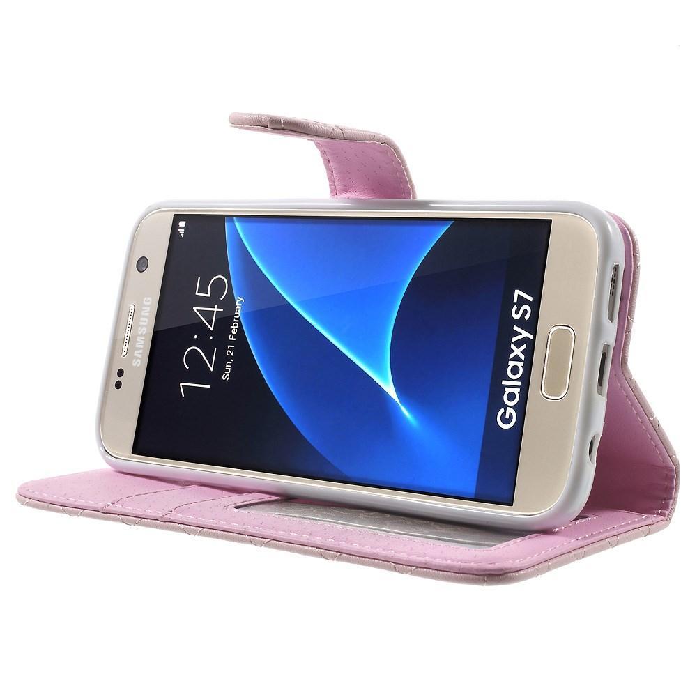 Plånboksfodral Samsung Galaxy S7 Quilted rosa