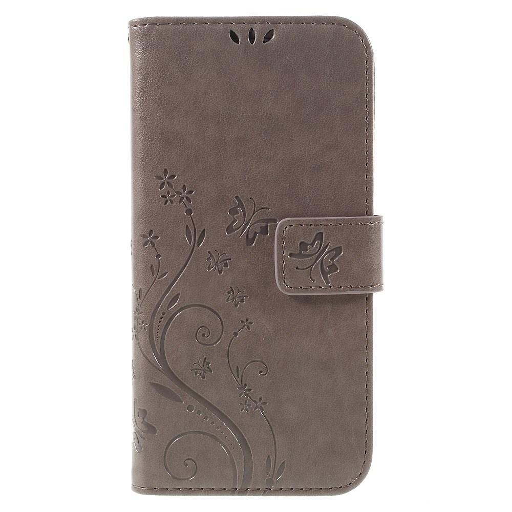 Läderfodral Fjärilar Samsung Galaxy S7 Edge grå