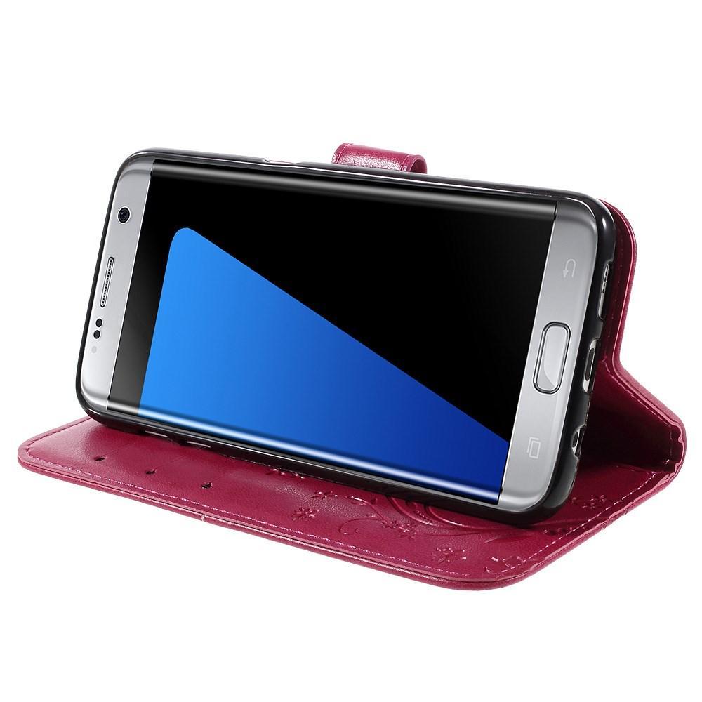 Läderfodral Fjärilar Samsung Galaxy S7 Edge cerise