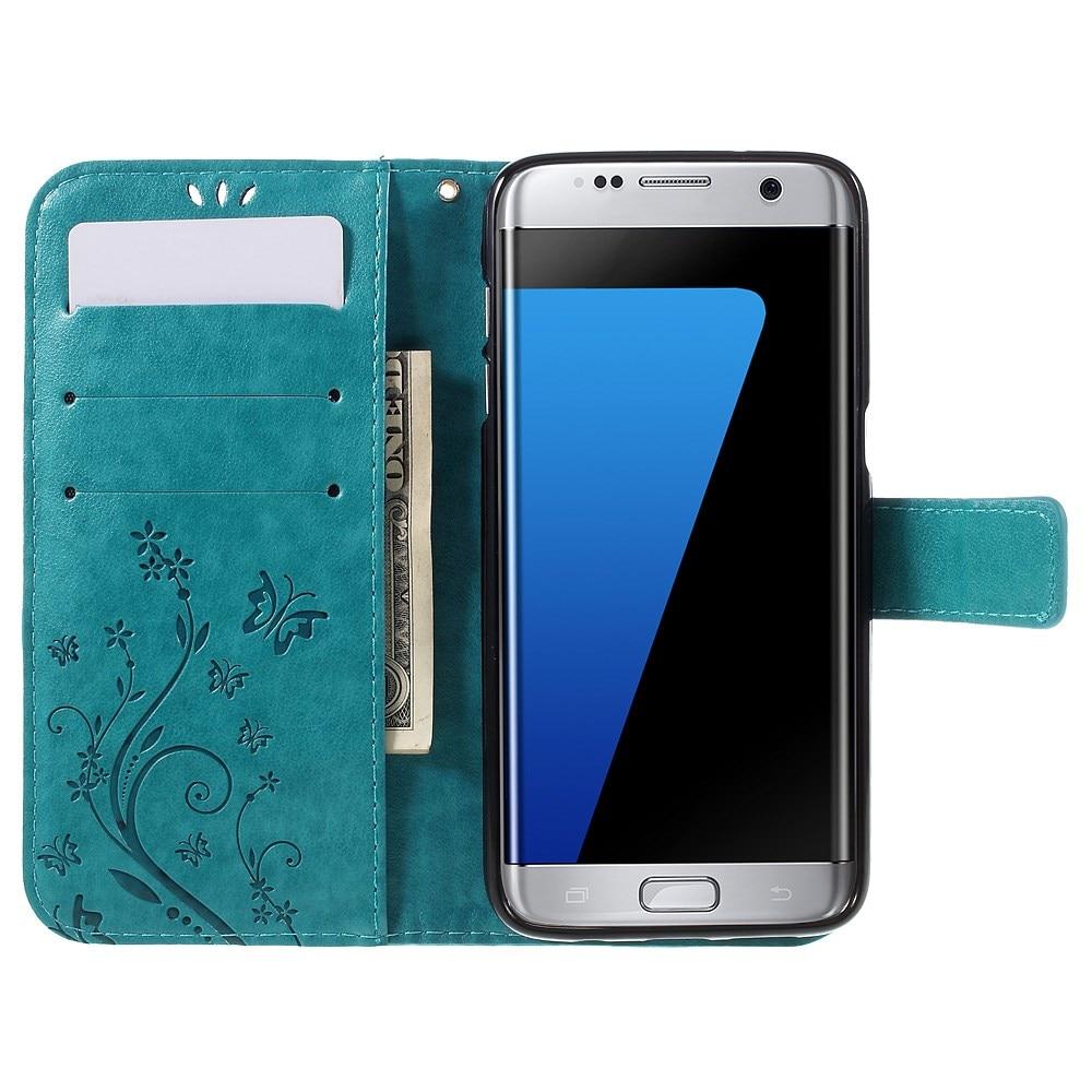 Läderfodral Fjärilar Samsung Galaxy S7 Edge blå