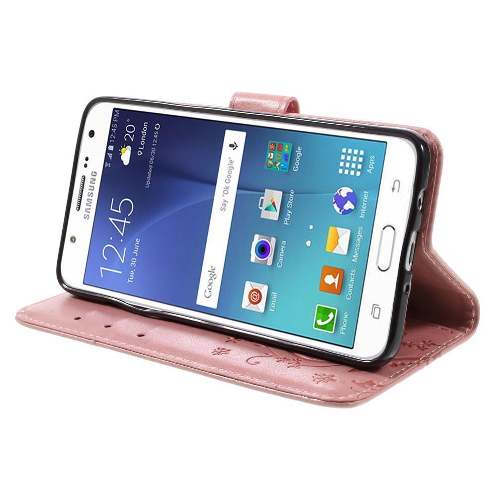 Läderfodral Fjärilar Samsung Galaxy J5 2016 rosa