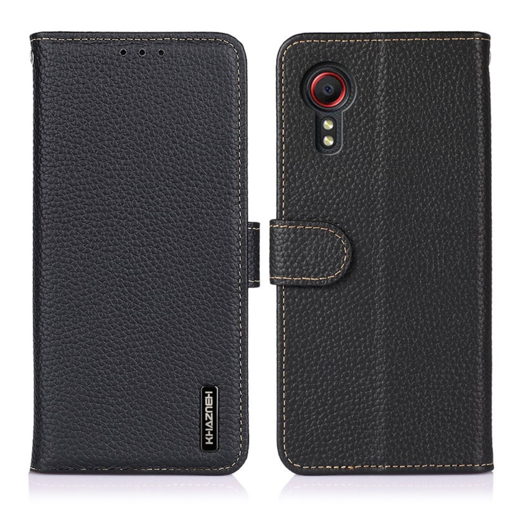 Real Leather Wallet Galaxy Xcover 5 Black