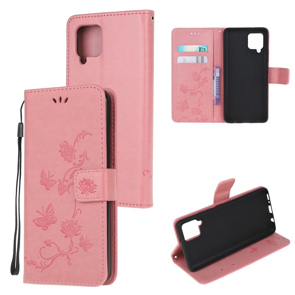 Läderfodral Fjärilar Samsung Galaxy A22 4G rosa