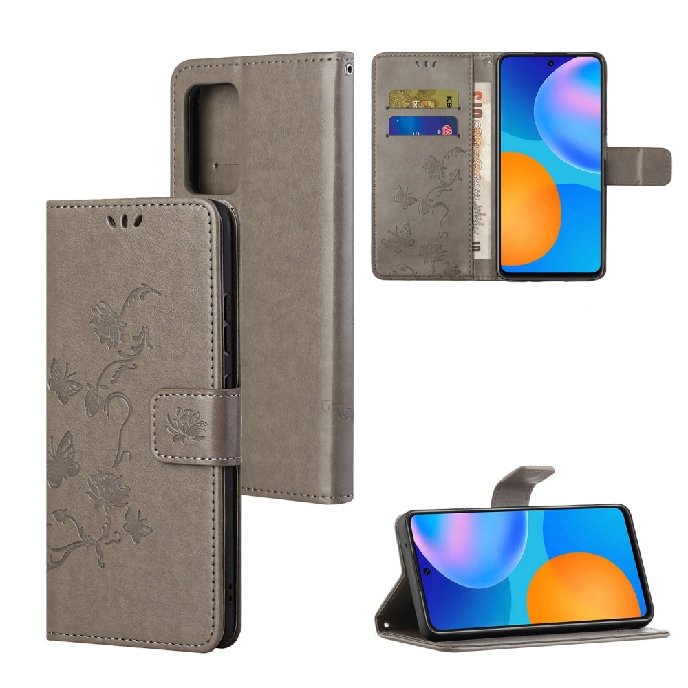 Läderfodral Fjärilar Samsung Galaxy A82 5G grå