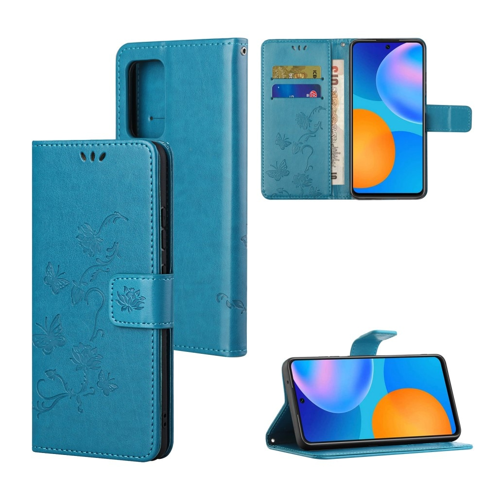 Läderfodral Fjärilar Samsung Galaxy A82 5G blå