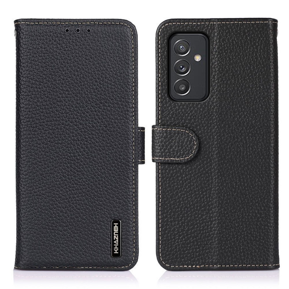 Real Leather Wallet Samsung Galaxy A82 5G Black