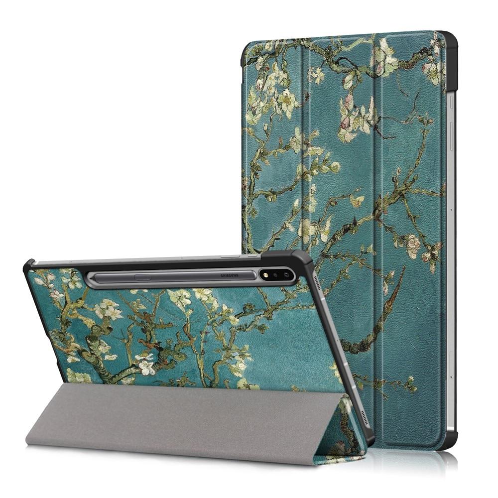Fodral Tri-fold Samsung Galaxy Tab S7 FE - Körsbärsblommor