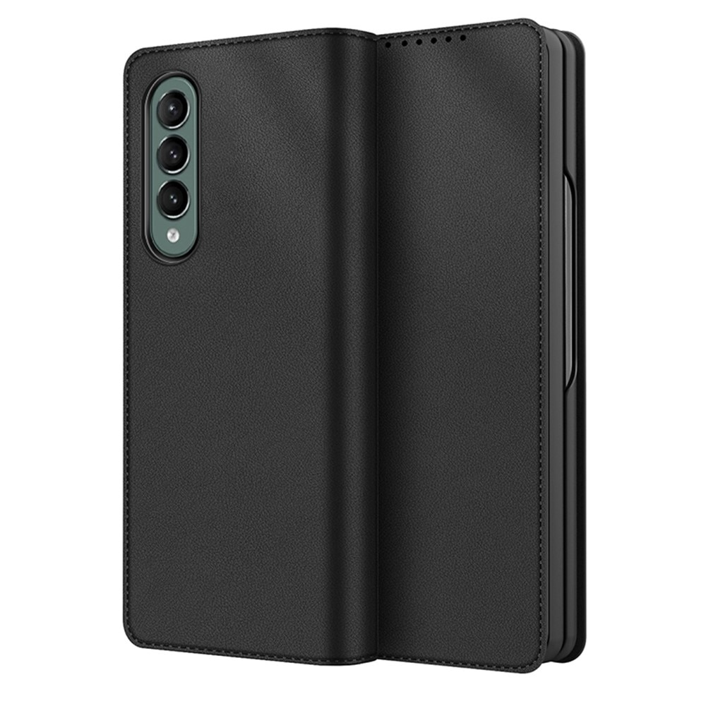 Äkta Läderfodral Samsung Galaxy Z Fold 3 svart