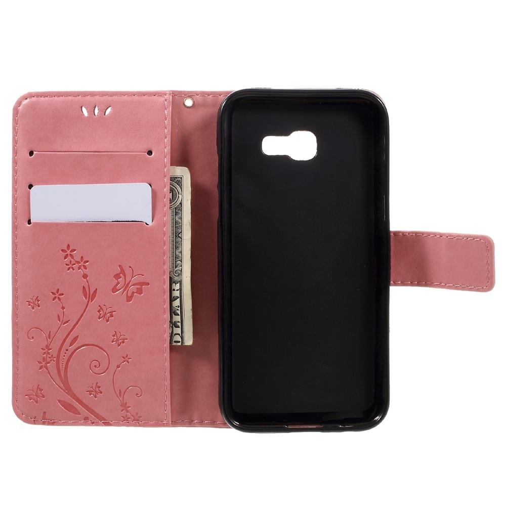 Läderfodral Fjärilar Samsung Galaxy A5 2017 rosa