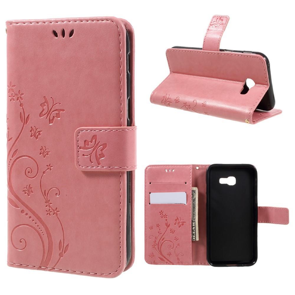Läderfodral Fjärilar Samsung Galaxy A3 2017 rosa