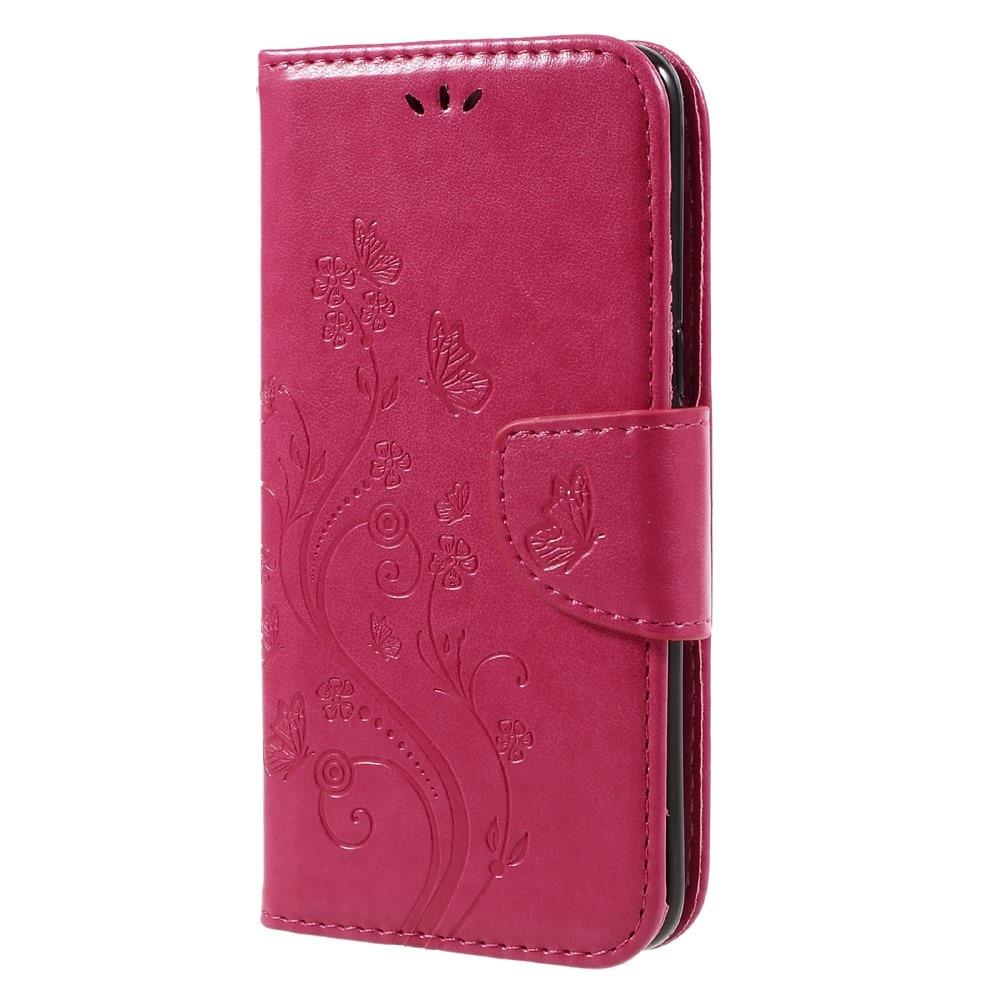 Läderfodral Fjärilar Samsung Galaxy S8 rosa
