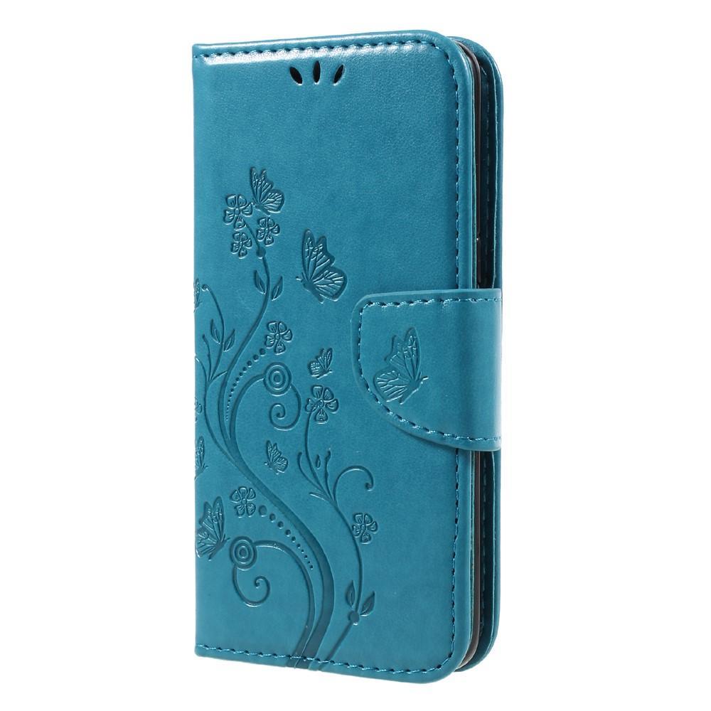 Läderfodral Fjärilar Samsung Galaxy S8 blå