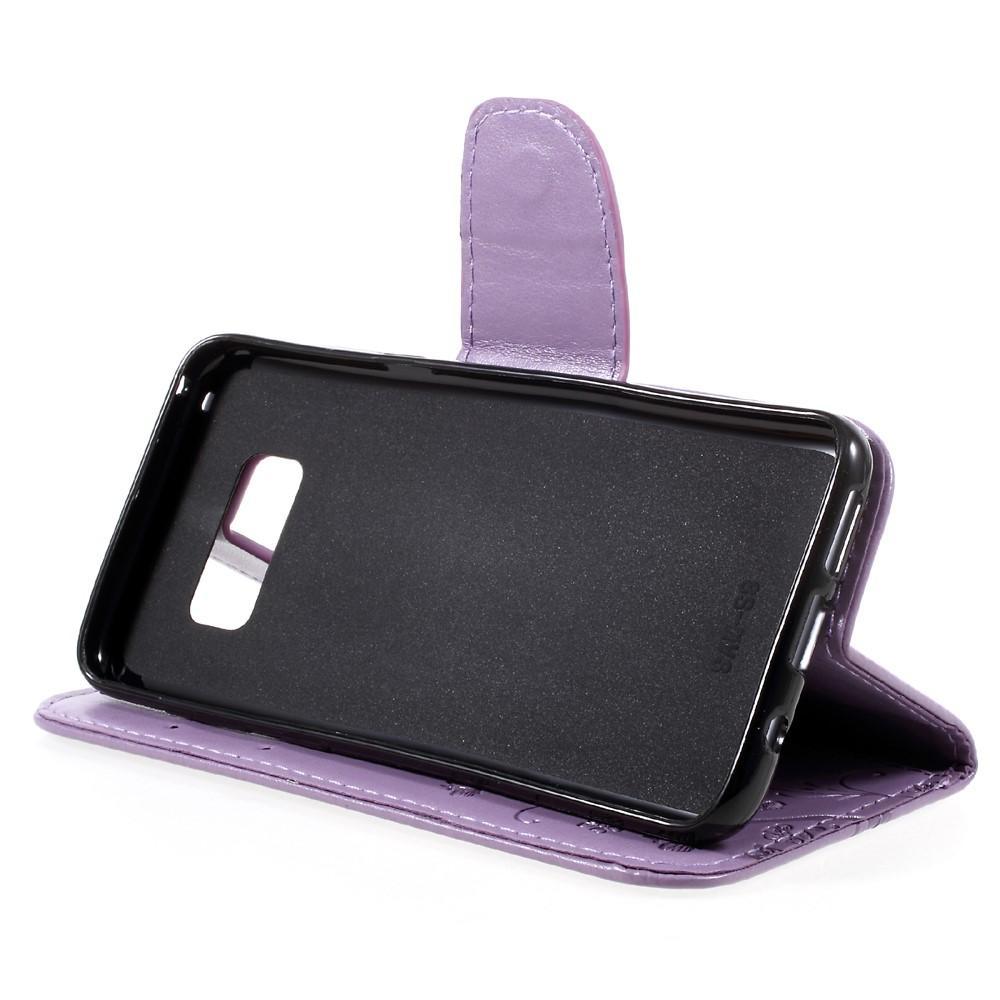Läderfodral Fjärilar Samsung Galaxy S8 lila