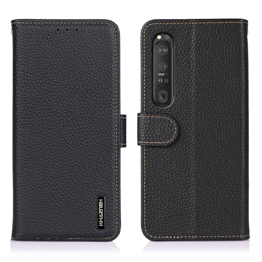 Real Leather Wallet Sony Xperia 1 III Black
